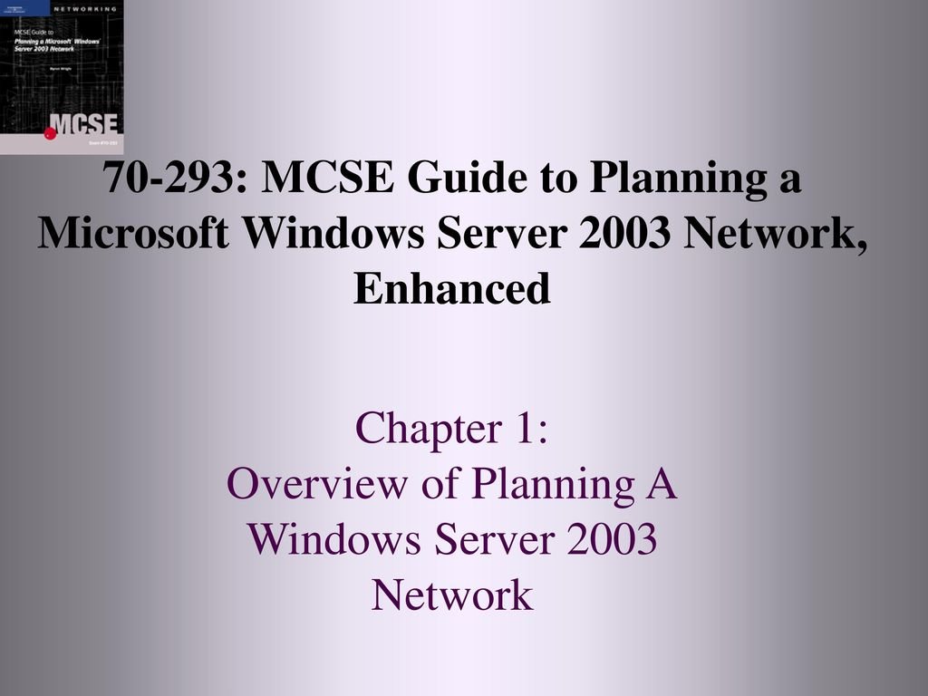 1 70-293: MCSE Guide to Planning a Microsoft Windows Server 2003 Network,  Enhanced Chapter 1: Overview of Planning A Windows Server 2003 Network