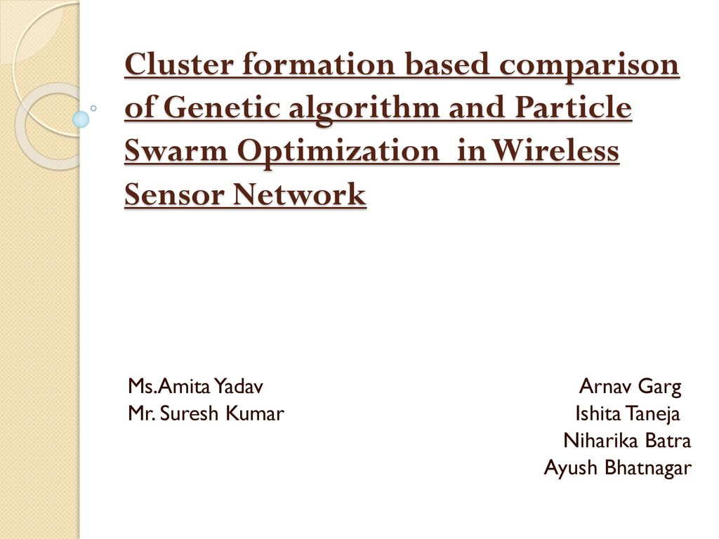 Cluster formation based comparison of Genetic algorithm and Particle