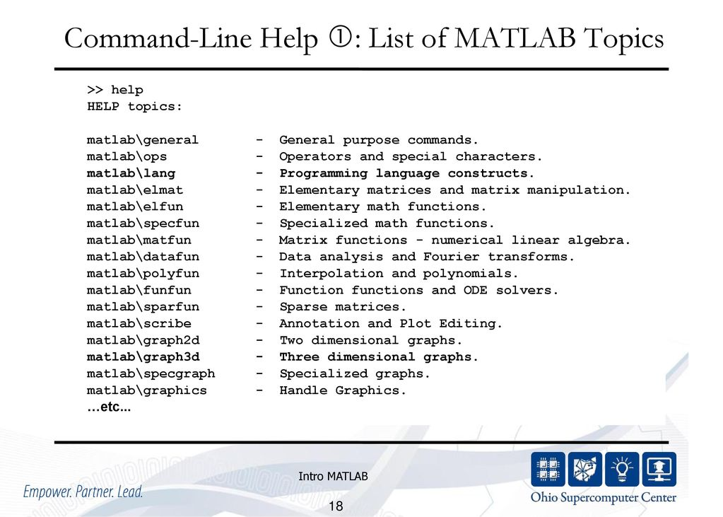 Matlab functions list