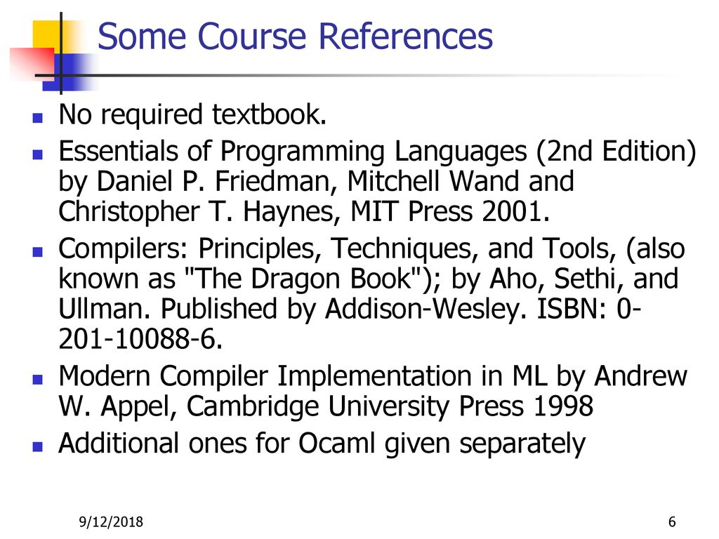 6 Some Course References
