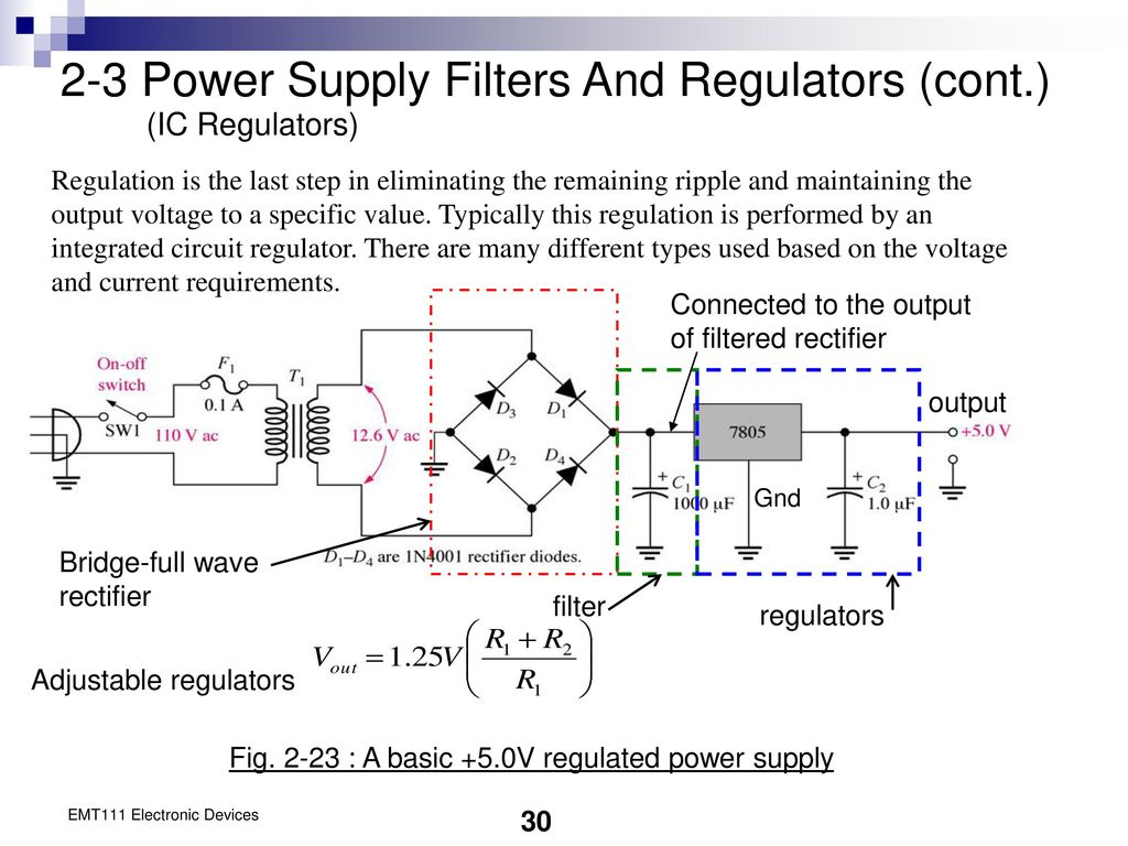 Chapter 2 Diode Applications Ppt Download 18v Bipolar Regulated Power Supply Circuit Is Shown As Above 3 Filters And Regulators Cont Ic