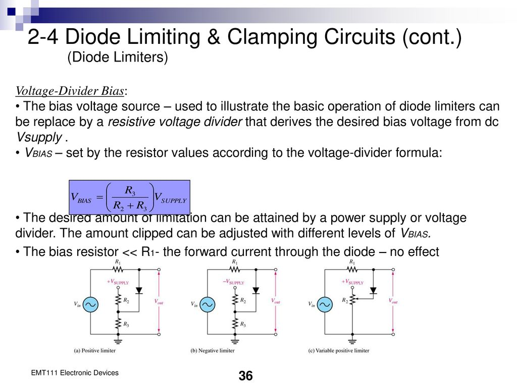 Chapter 2 Diode Applications Ppt Download Once The Bias Is Set This Circuit Will Supply A Constant Current To 4 Limiting Clamping Circuits Cont Limiters