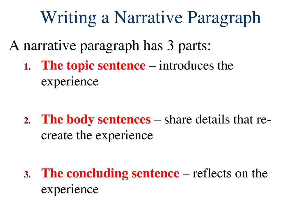 Narrative Paragraphs. - ppt download