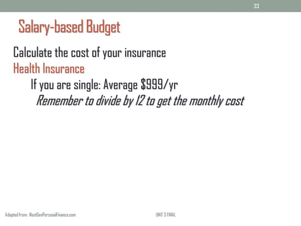 salary based budget adapted from nextgenpersonalfinance com salary