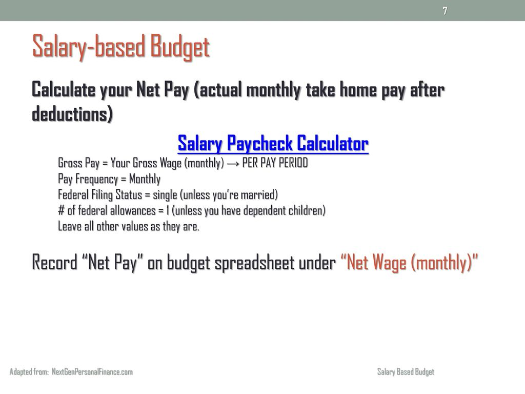 salary based budget adapted from nextgenpersonalfinance com salary