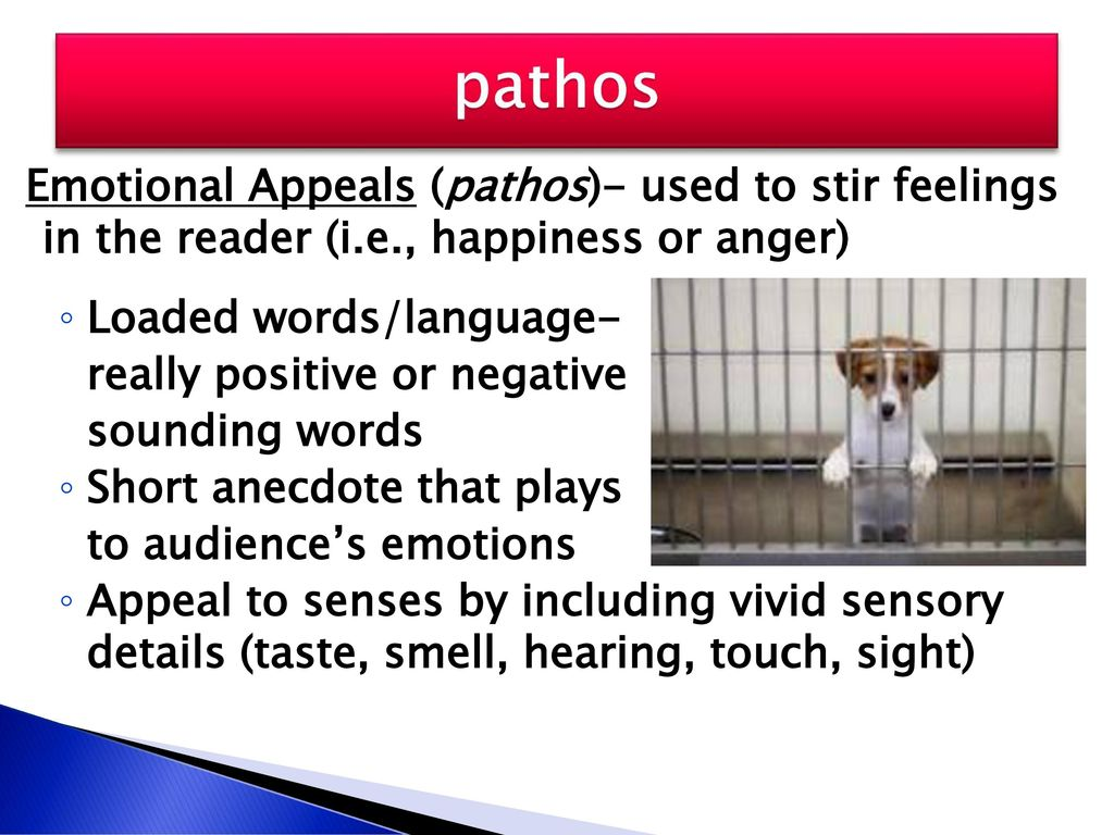 pathos Emotional Appeals (pathos)- used to stir feelings in the reader (i.e., happiness or anger) Loaded words/language-