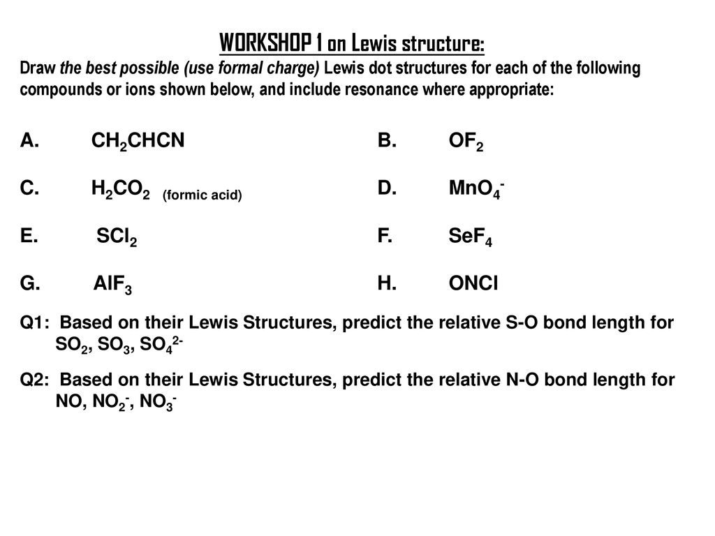 workshop 1 on lewis structure:
