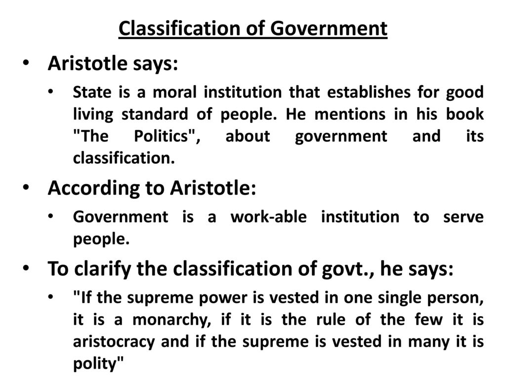 aristotle classification of state