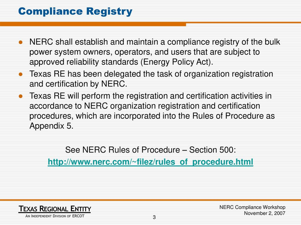 Nerc Entity Registration And Certification In The Ercot Region Ppt