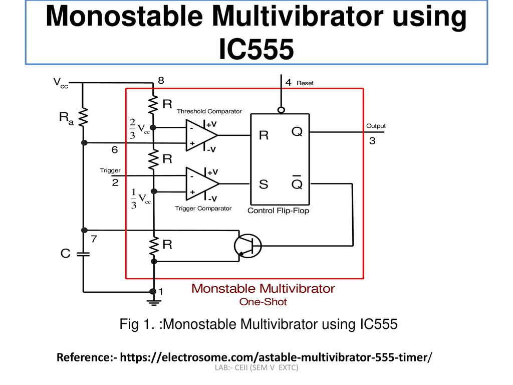 To Design And Implement Monostable Multivibrator Circuit Using Ic 555 Diagram Ic555