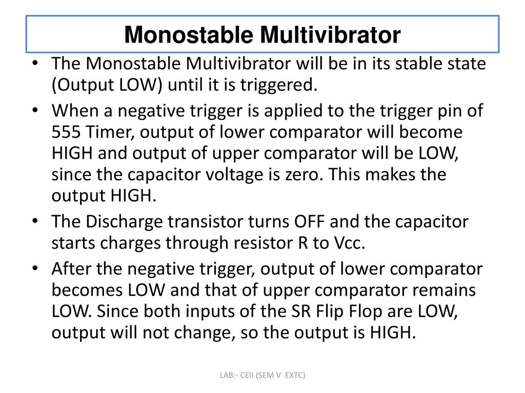 To Design And Implement Monostable Multivibrator Circuit Using Ic The 555 Timer Bistable You Can Find Circuits