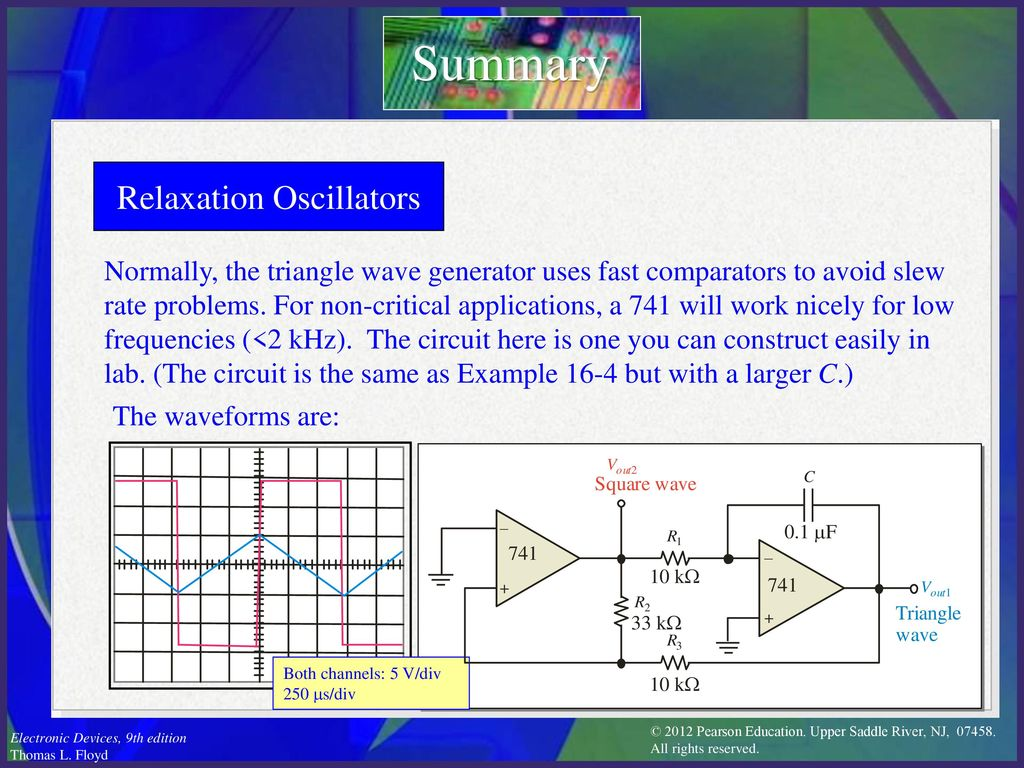Electronic Devices Ninth Edition Floyd Chapter Ppt Download Triangular Waveform Using Schmitt Trigger 23 Relaxation Oscillators Summary Normally The Triangle Wave Generator Uses