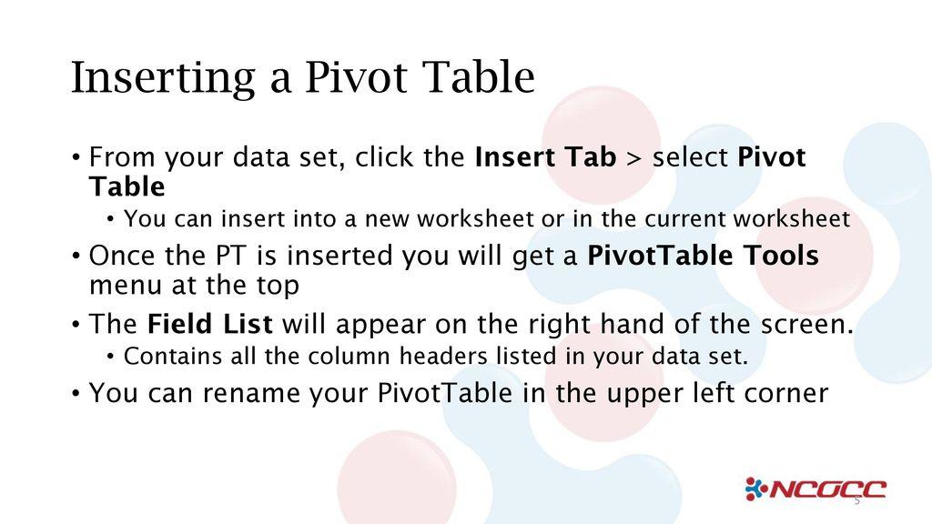 pivot table basics ppt download