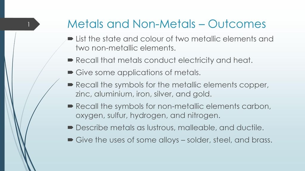 Metals And Non Metals Outcomes Ppt Download