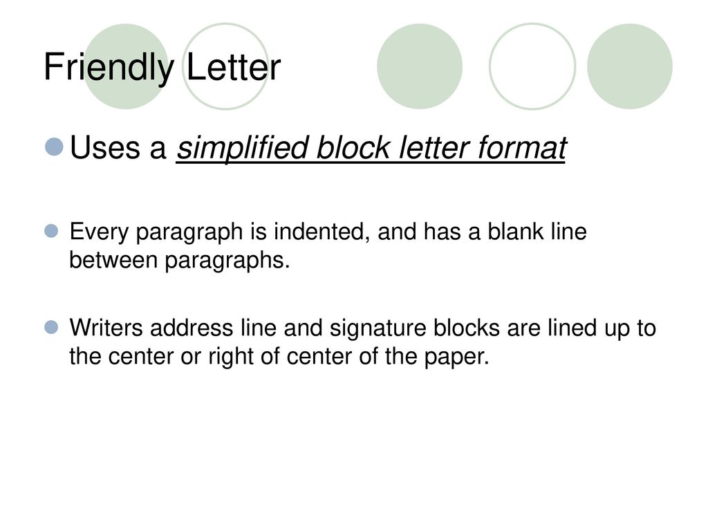 3 friendly letter uses a simplified block letter format