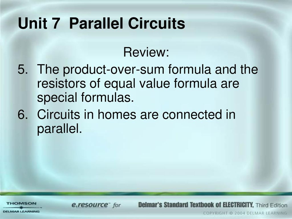 Unit 7 Parallel Circuits Ppt Download Formula For Series And