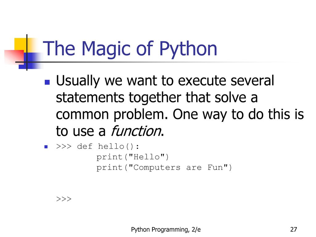 Python Programming An Introduction To Computer Science Ppt Download Parallel Resistor Networks In Java We Define Asuperclass Circuit The Magic Of Usually Want Execute Several Statements Together That Solve A Common