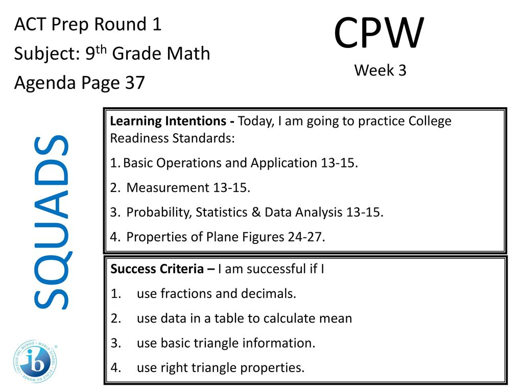 Squads Cpw Act Prep Round 1 Subject 9th Grade Math Agenda Page Ppt