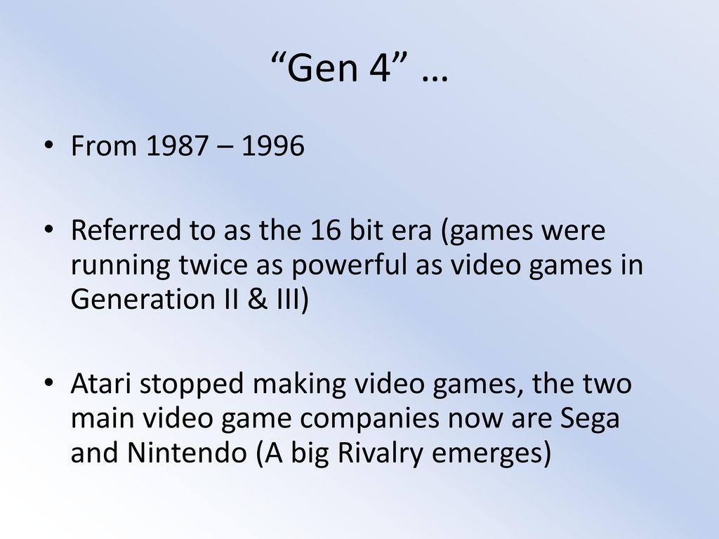 4th Generation Video Games - ppt download