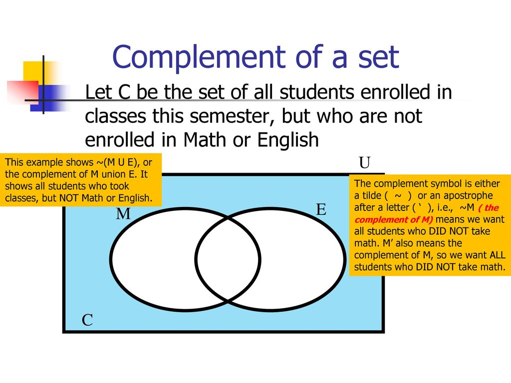 Venn diagrams in this powerpoint you will learn about venn diagrams 5 complement ccuart Images