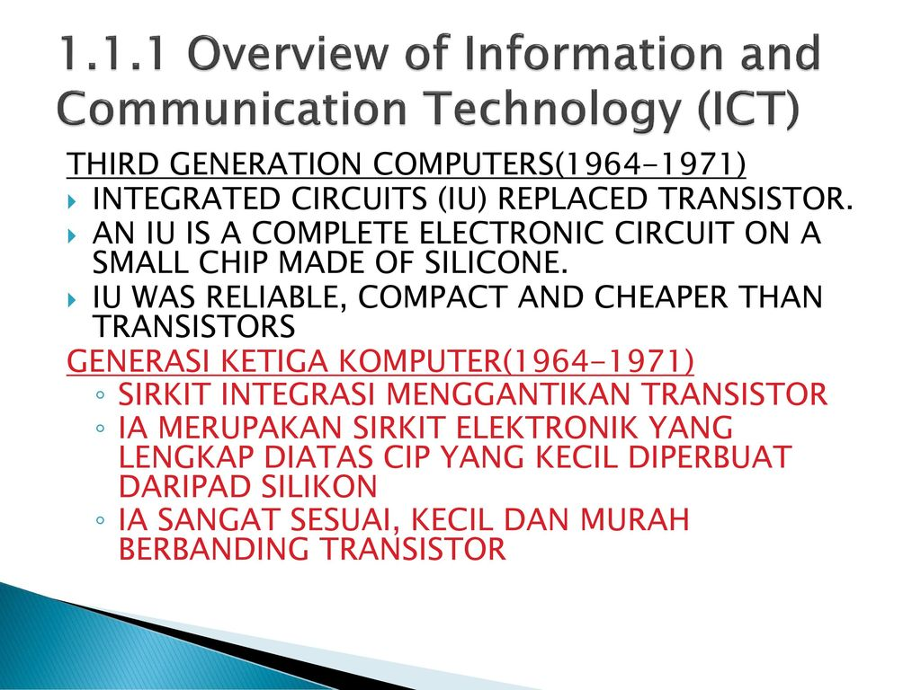 Learning Area 1 Ict Society Ppt Download Third Generation 19641971 Integrated Circuits 5 111 Overview Of Information And Communication Technology Computers