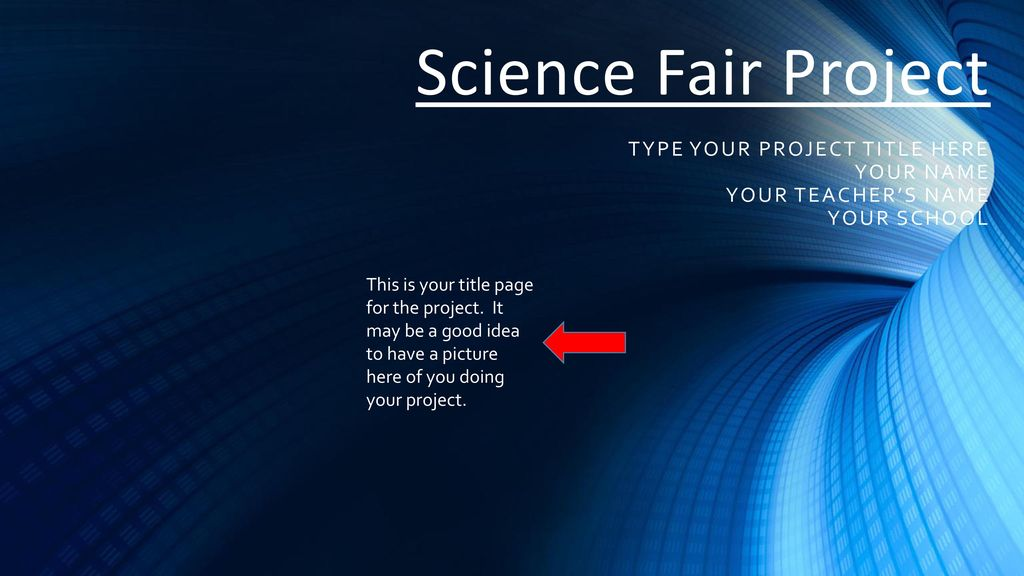 science fair project title page example