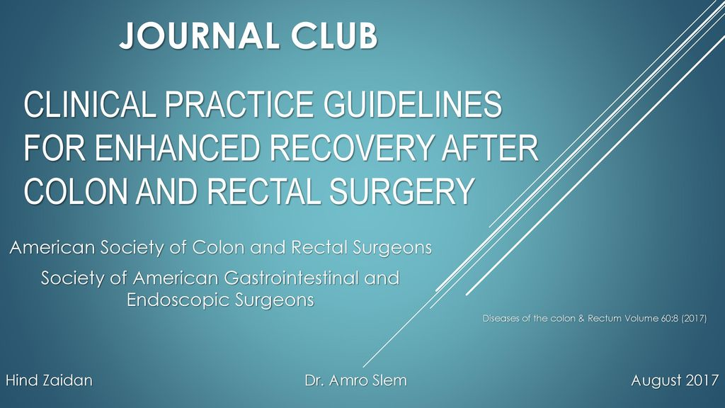 Journal Club Clinical Practice Guidelines For Enhanced