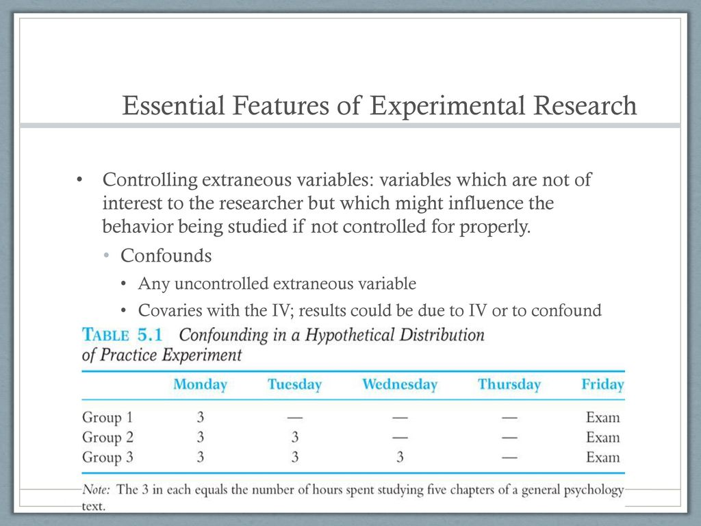 features of experimental research