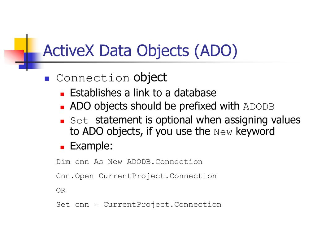 Ado: simple hello world to expertise activex data objects in 7.