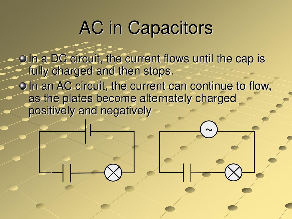 Alternating Current Electricity Ppt Download Capacitors In Dc Circuits Ac A Circuit The Flows Until Cap Is Fully