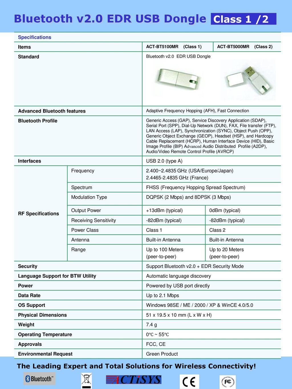 Bluetooth V20 Edr Usb Dongle Ppt Download
