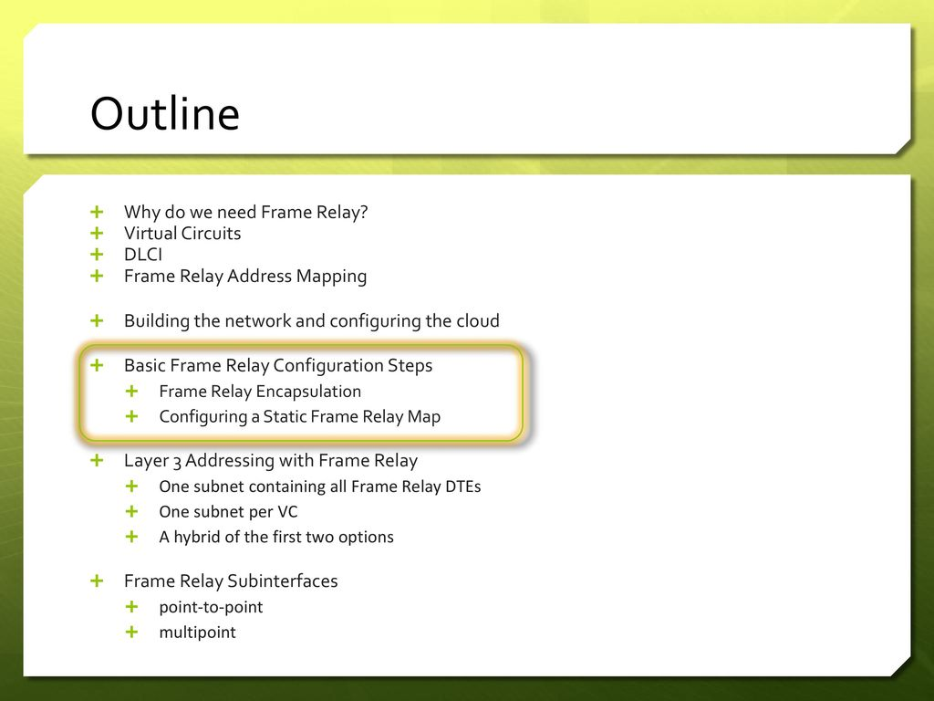 Frame Relay Lab1 Ppt Download Basic Commands Outline Why Do We Need Virtual Circuits Dlci 20 Configuration Steps