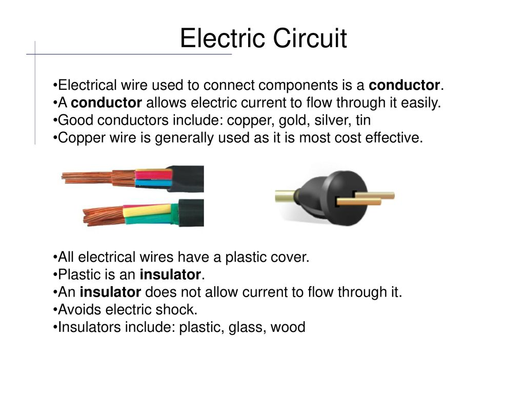 Electric Circuit Components are connected together with electrical ...