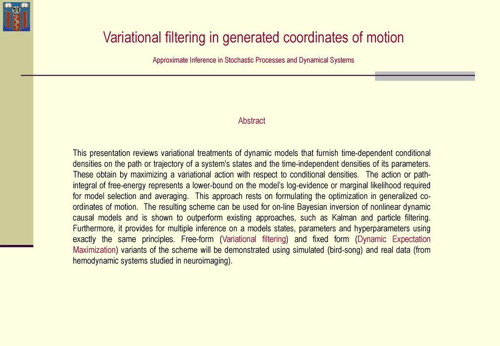 Variational filtering in generated coordinates of motion