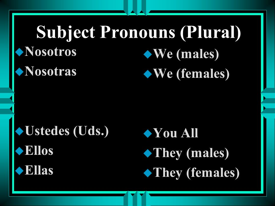 Subject Pronouns (Plural)