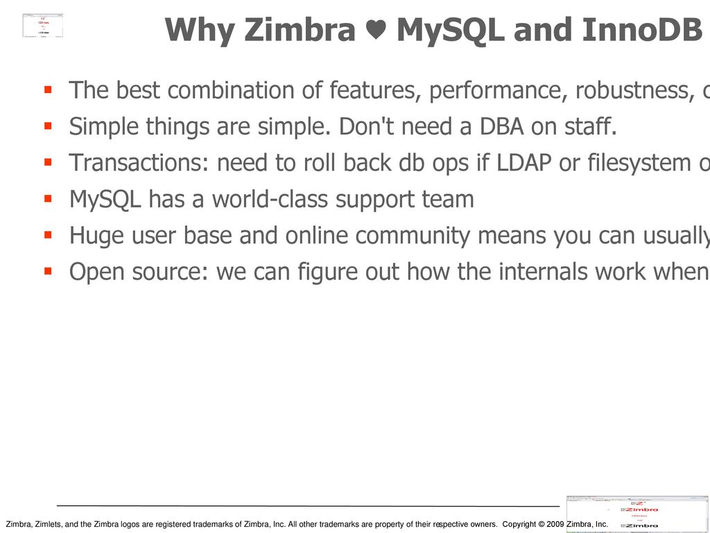 Mailboxes and MySQL at Zimbra - ppt download