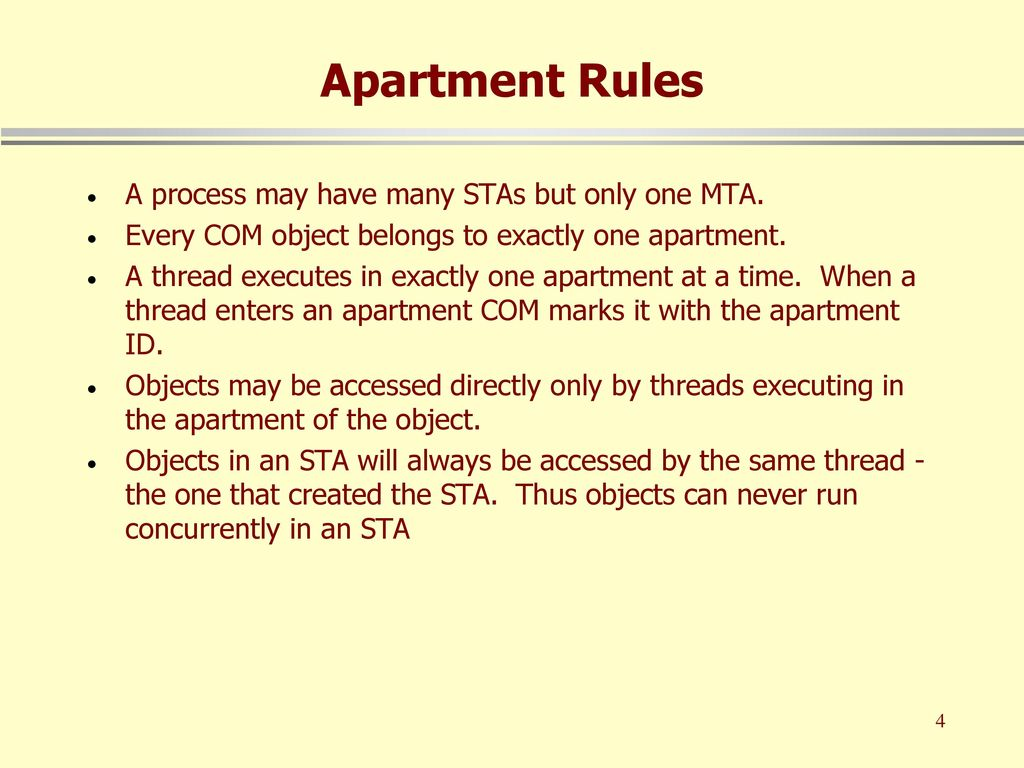 4 Apartment Rules