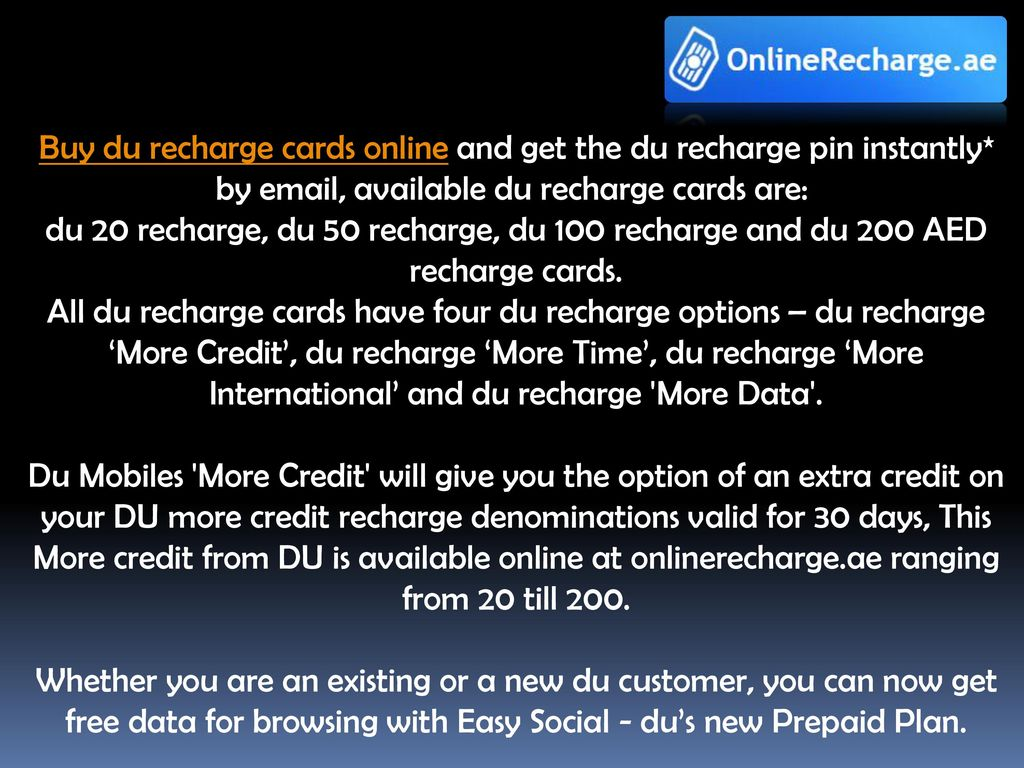 Welcome to OnlineRecharge ae  - ppt download