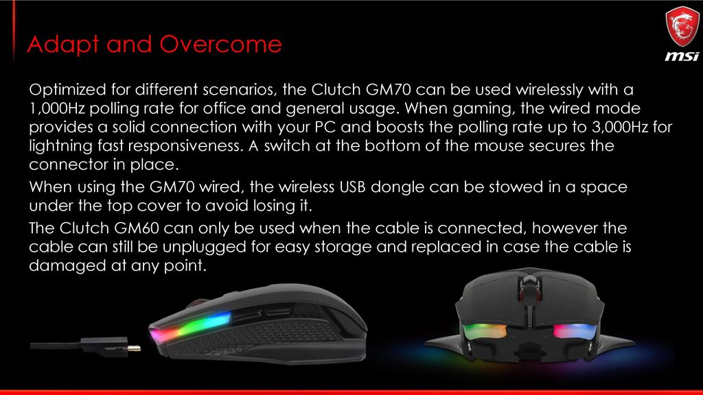2214bfbff1c 8 Adapt and Overcome Optimized for different scenarios, the Clutch GM70 can  be used wirelessly ...