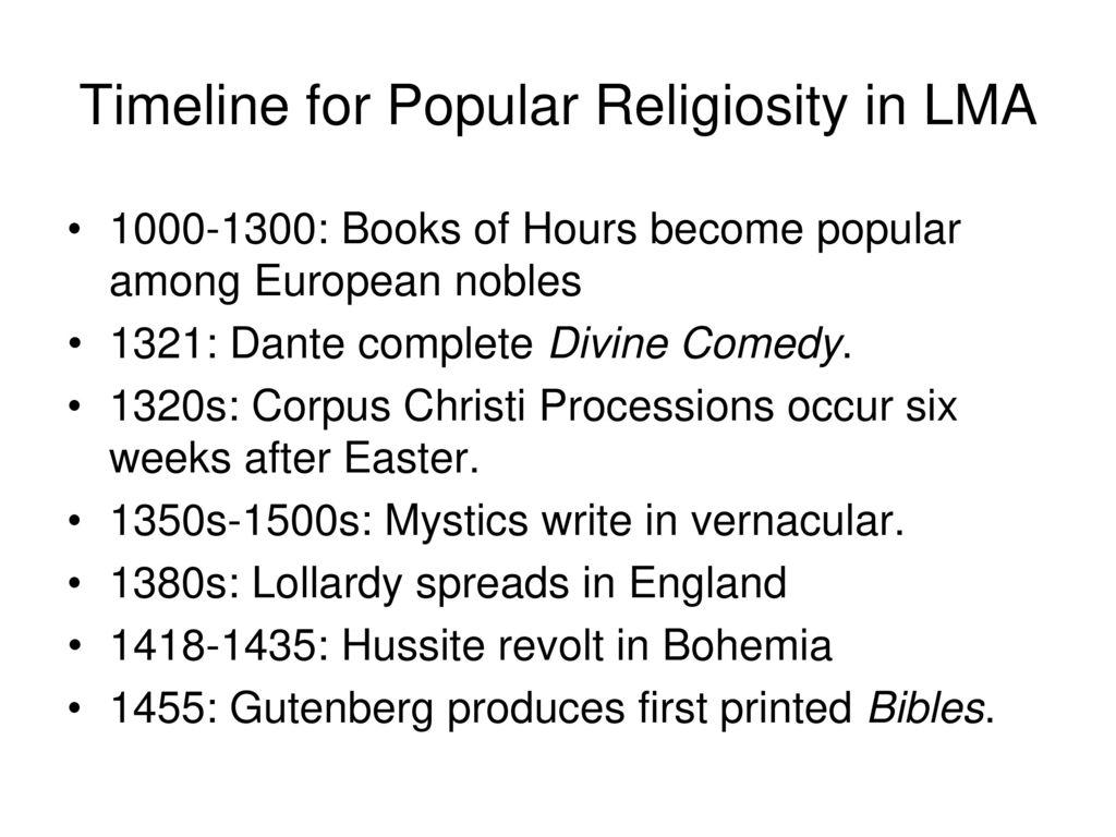 Timeline for Popular Religiosity in LMA - ppt download