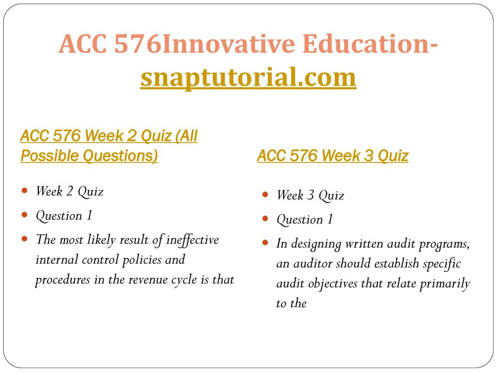 ACC 576Innovative Education-snaptutorial com - ppt download