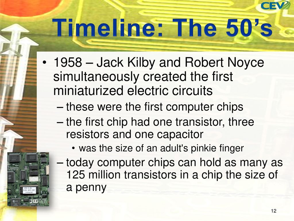 Objectives To Discover The Development Of Computer Industry Integrated Circuit Is Invented By Jack Kilby In 1958 Timeline 50s And Robert Noyce Simultaneously Created First Miniaturized