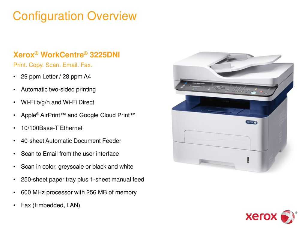Xerox® WorkCentre® 3225 Multifunction Printer - ppt download
