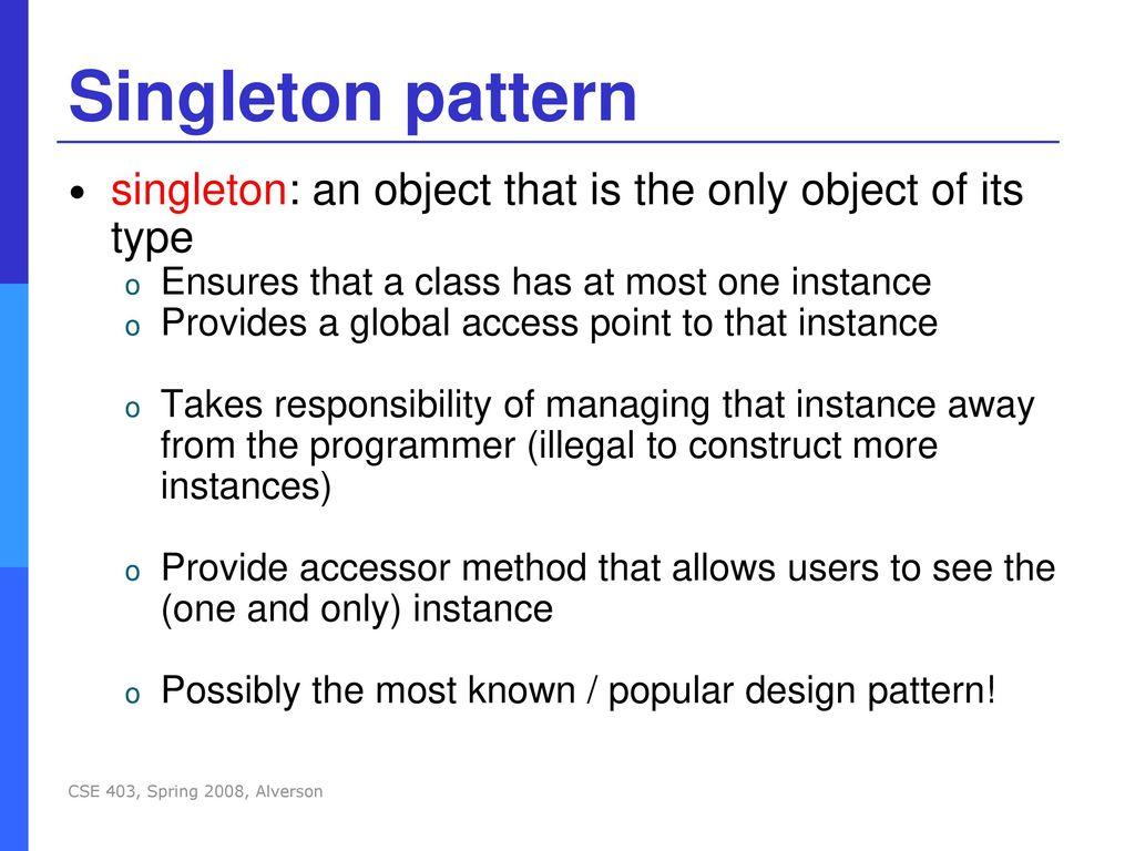 Singleton Pattern New Decorating Design