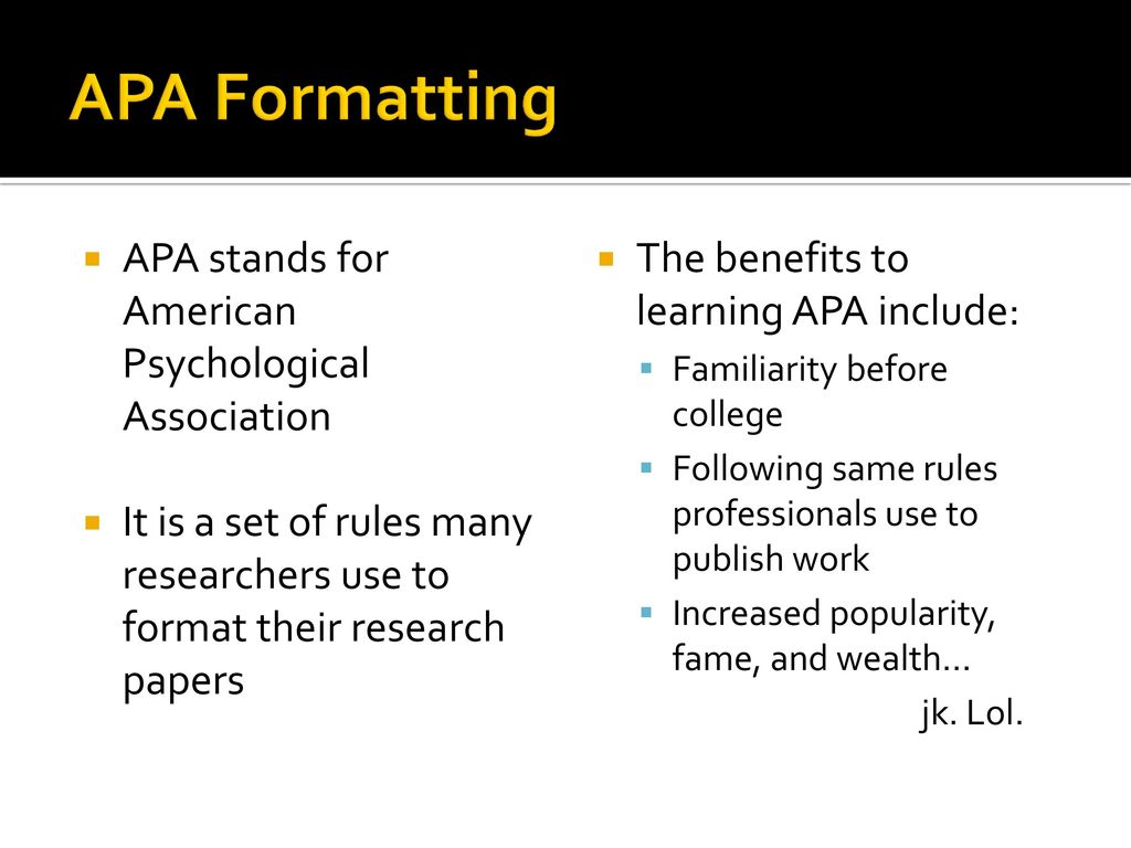 benefits of apa format