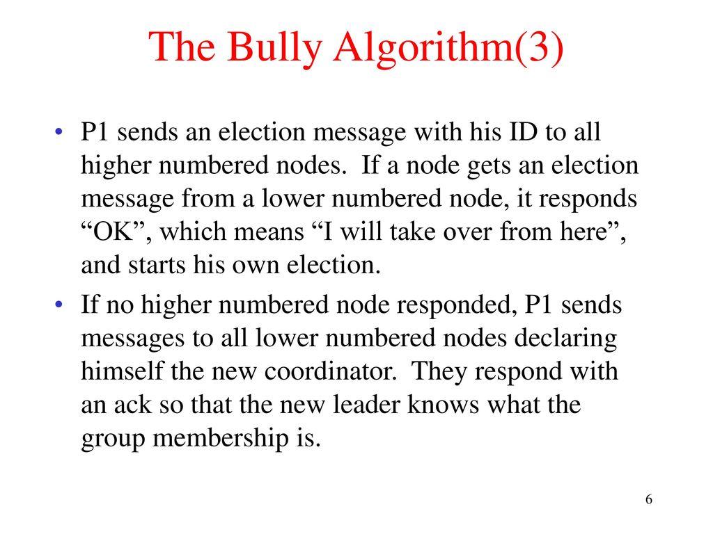 What is election algorithm? : election algorithm (bully algorithm.