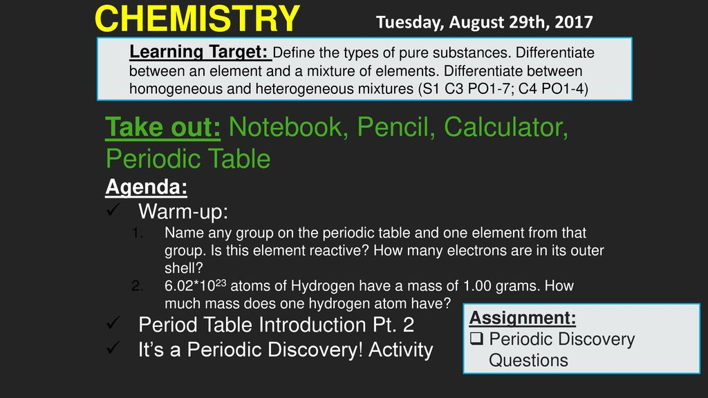activity assignment periodic discovery questions chemistry take out notebook pencil calculator periodic table - Periodic Table Discovery Activity