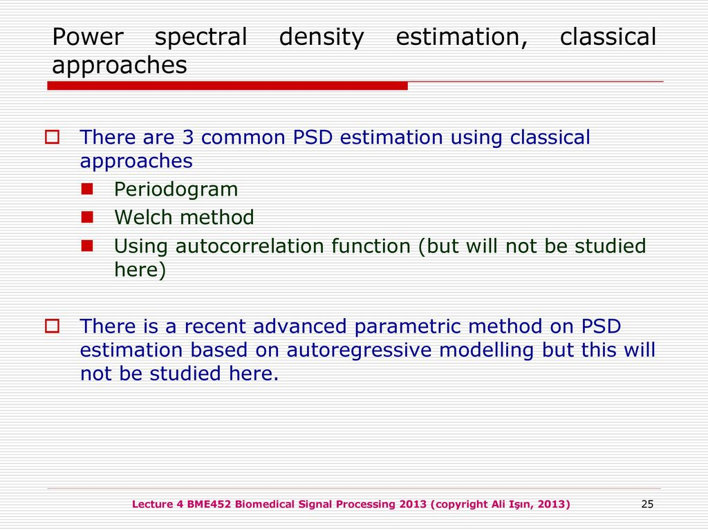 BME452 Biomedical Signal Processing - ppt download