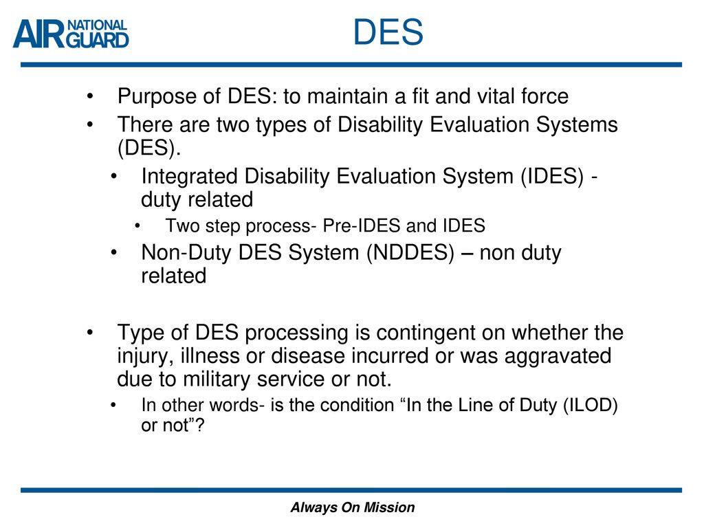disability evaluation system des overview ppt download