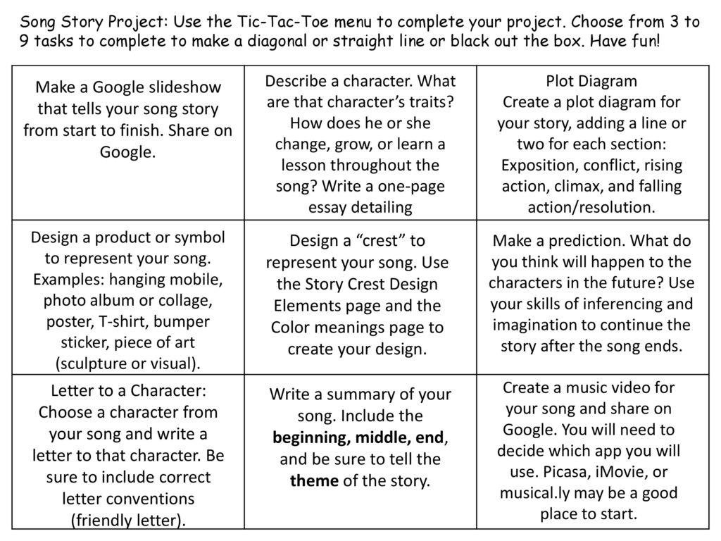 Song Story Project Use The Tic Tac Toe Menu To Complete Your Project